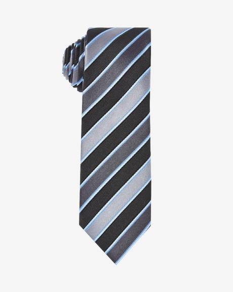 Regular tie in grey and blue stripes