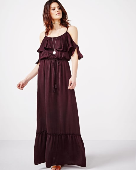 Silky Maxi Dress with Cold Shoulders