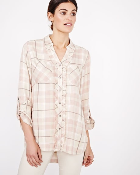 Plaid blouse with frills