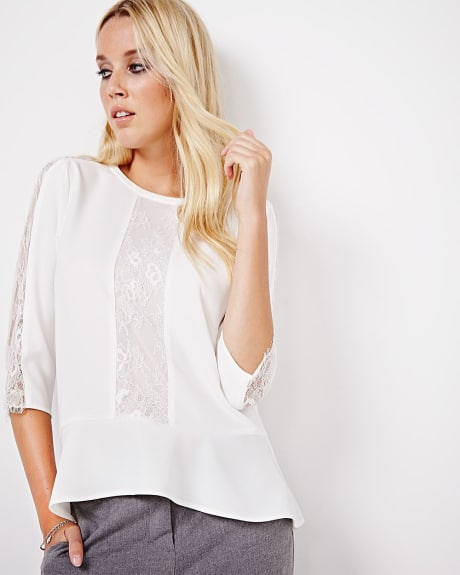 Stretch crepe blouse with lace