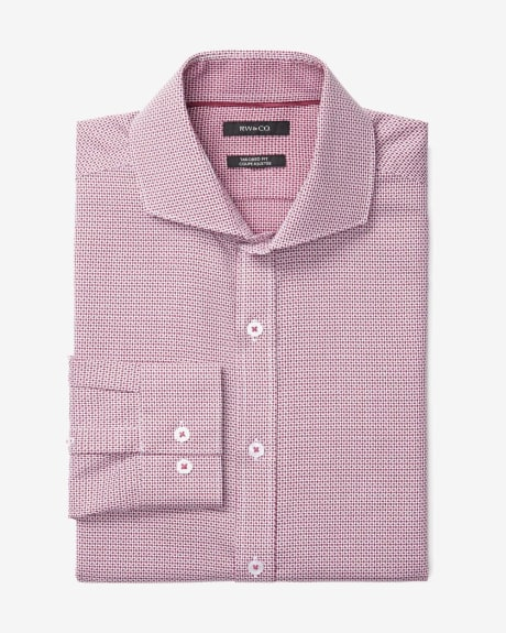 Tailored Fit Dress Shirt in red and white pattern
