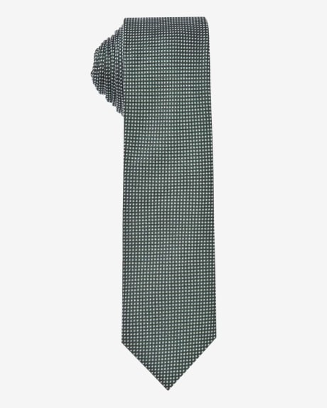 Skinny green tie with fine dots