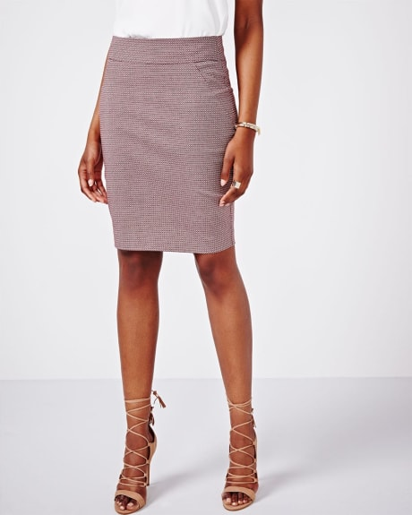 Printed Pull-on Pencil Skirt