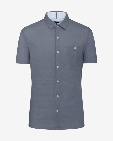 Short Sleeve Slim Fit Chambray Dot Shirt
