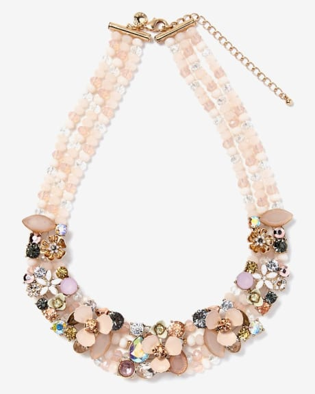 Pastel Flowers Statement Necklace