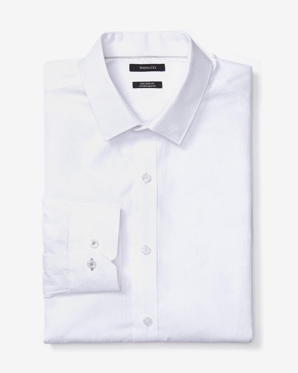 Tailored fit white jacquard dress shirt rw co for Tailoring a dress shirt