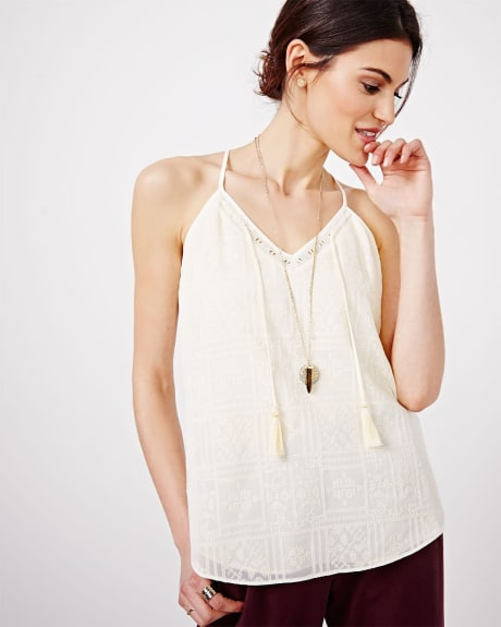 Embroidered Cami Blouse with Tassels