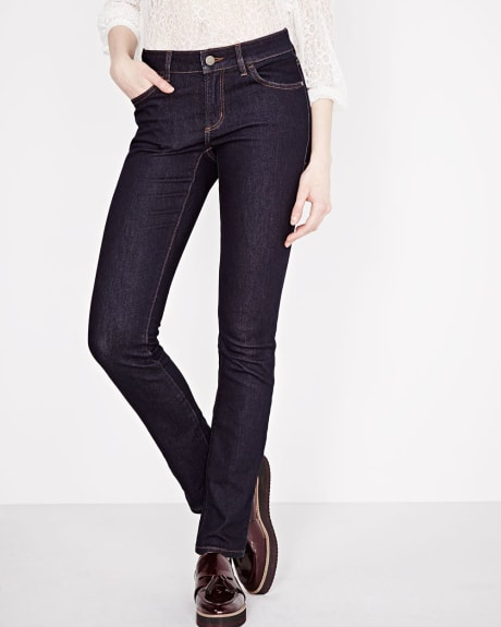 Straight leg raw denim jean