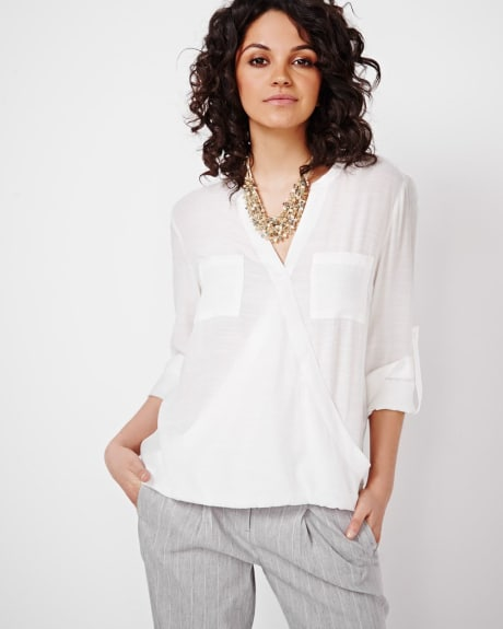 Wrap Blouse with Roll-up Sleeve