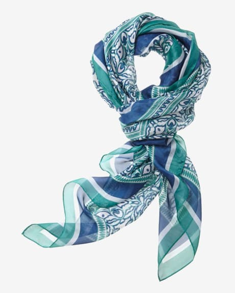 Mosaic Print Silky Square Scarf
