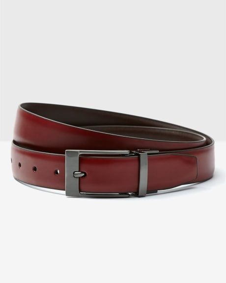 Reversible red leather belt