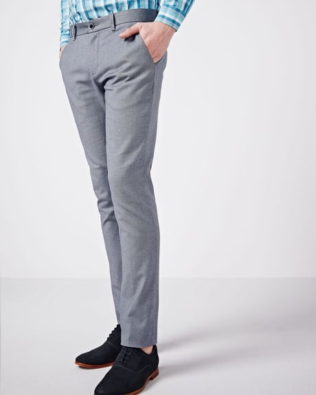 Textured two-tone slim fit pant.Navy.32