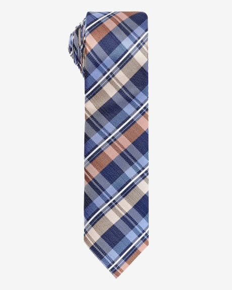 Skinny tie in coloured check