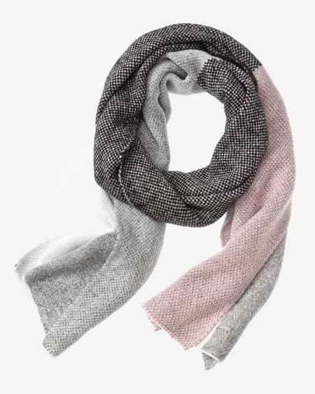 Oversized pink colour block scarf