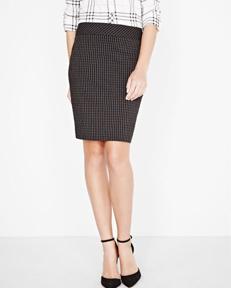 Modern stretch windowpane jacquard pencil skirt