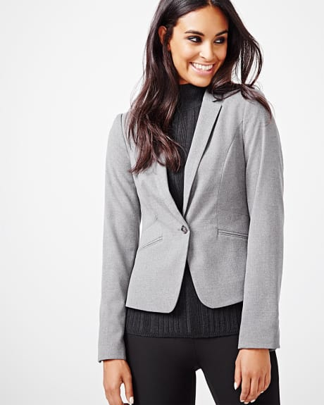 Tailored fit stretch flannel blazer