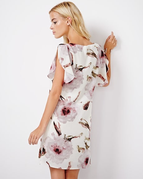 Printed shift dress with ruffle sleeves