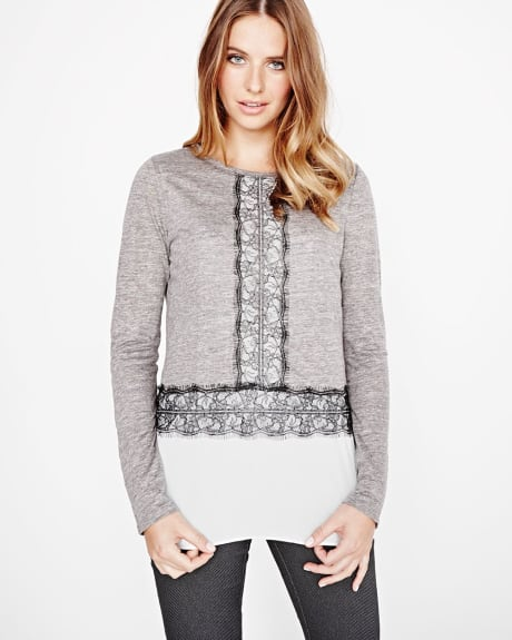 Long sleeve linen t-shirt with lace
