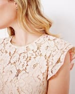 Lace T-shirt with Flutter Sleeve