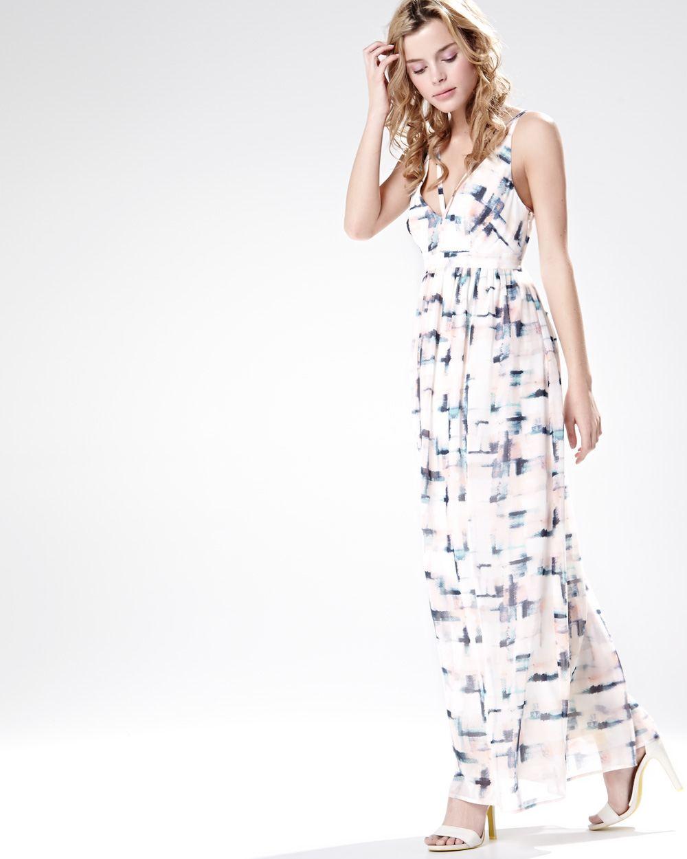 robe longue bretelle double en mousseline imprim e rw co. Black Bedroom Furniture Sets. Home Design Ideas