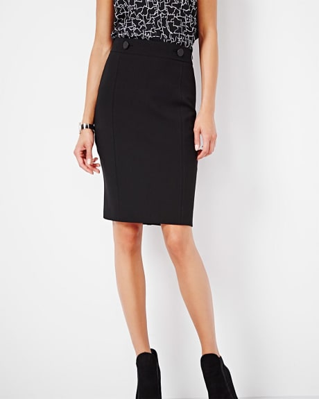 Slim stretch pencil skirt with faux leather