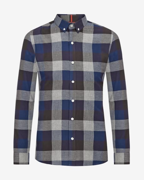 Tailored fit shirt in large blue check