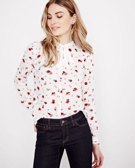 Floral Chiffon Shirt with Bow