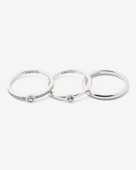 Silver ring band with crystals - Set of 3