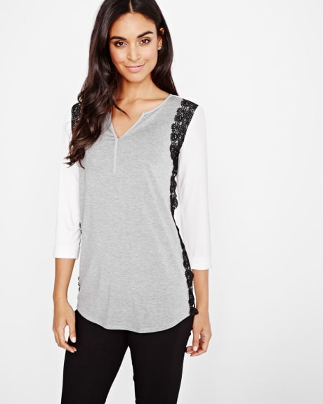 Henley t-shirt with lace