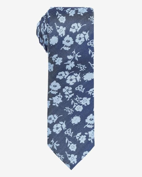 Regular Blue Denim Flower Tie