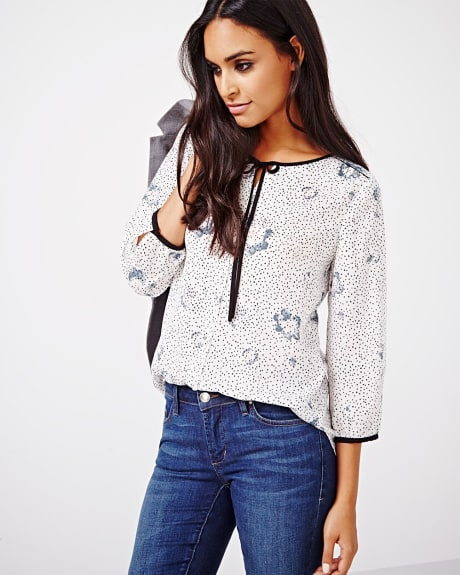 Printed Charmeuse blouse with bow