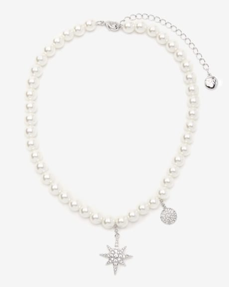 Pearl choker with charms