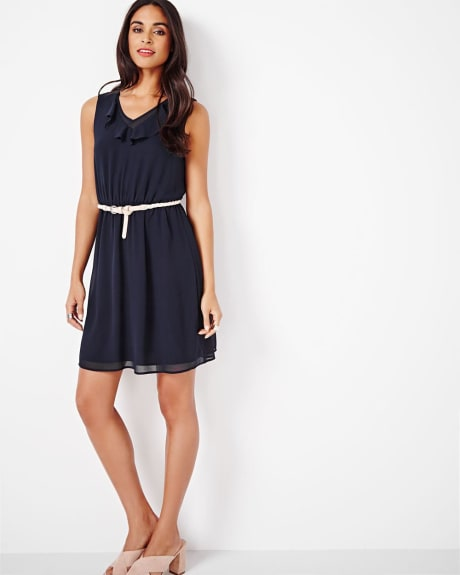 Fit and Flare Dress with Ruffles