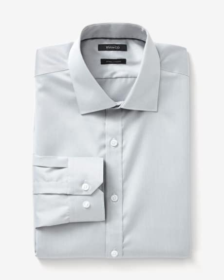 Fitted dress shirt in two-tone twill