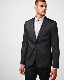 Slim fit black techno blazer - Regular