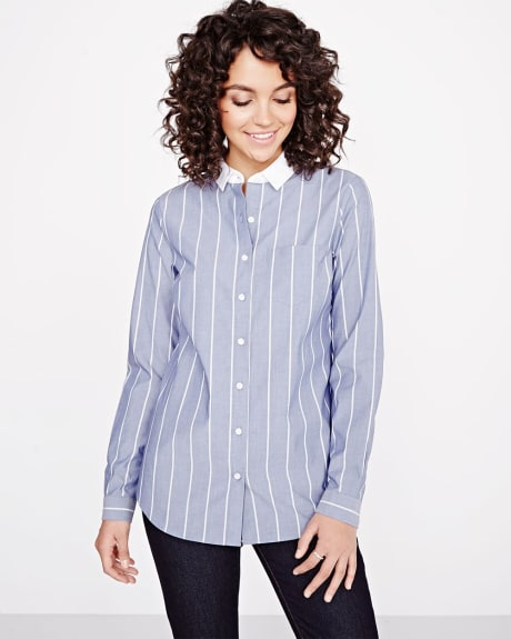 Stretch Striped Chambray Blouse
