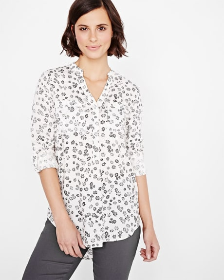 Stretch challis blouse