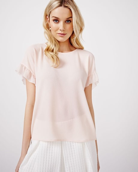 Short sleeve blouse with ruffles