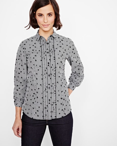 Floral Vichy Blouse with Ruffles