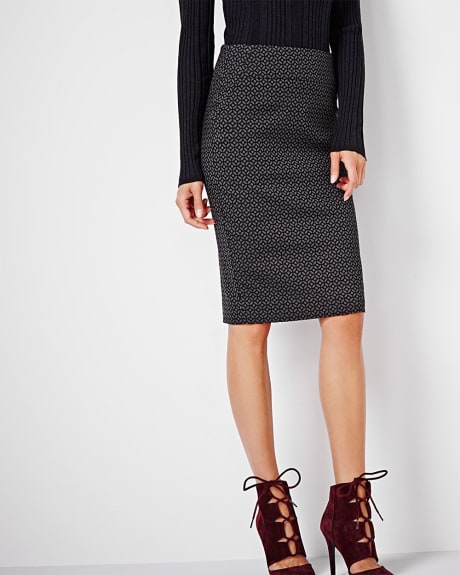 Modern stretch circle jacquard pencil skirt