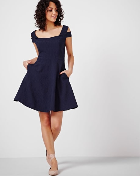 Jacquard Fit and Flare Dress with Cold Shoulders
