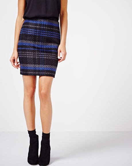 Brushed wool plaid skirt
