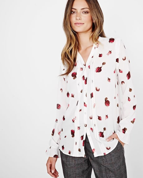 Printed Crinkle chiffon blouse