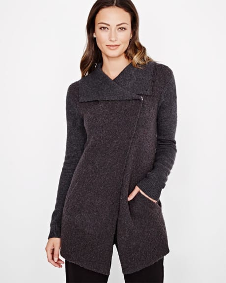 Cashmere-like open cardigan