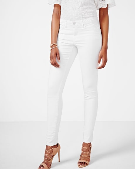 Natalie White Denim Skinny Pant with Cuff - 32 Inch