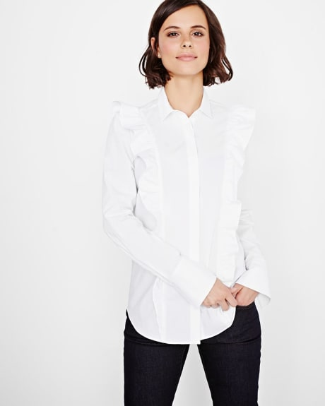 Blouse with ruffles and bow