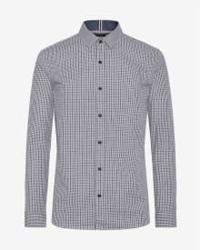 Tailored fit two-tone vichy jacquard shirt