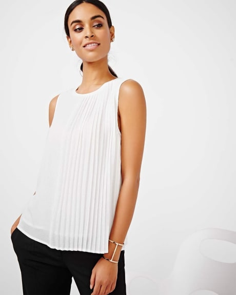 Pleated Sleeveless T-Shirt