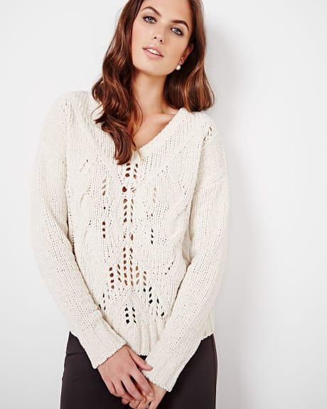 V-neck sweater with Lurex