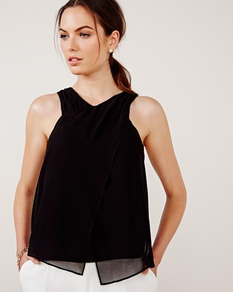 Sleeveless chiffon criss-cross blouse